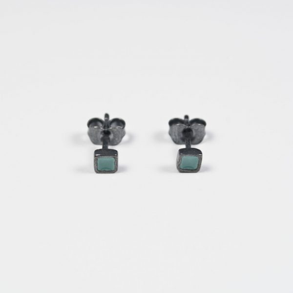 Silver Earrings PICTA with Green Enamel and Black Patina - Small Square