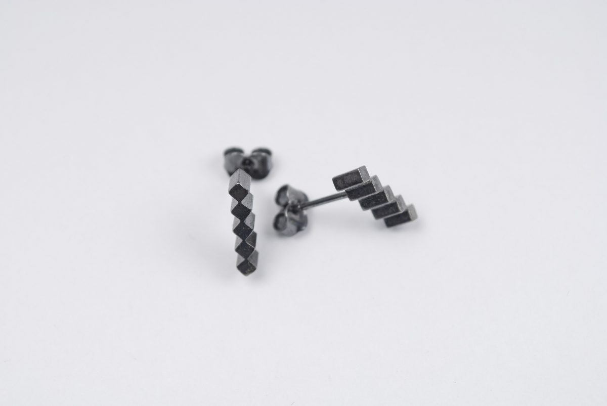 silver earrings with black patina