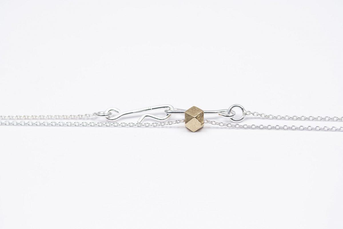 necklace etalon artefakti one 18 karat golden element size m. minimalistic look side view