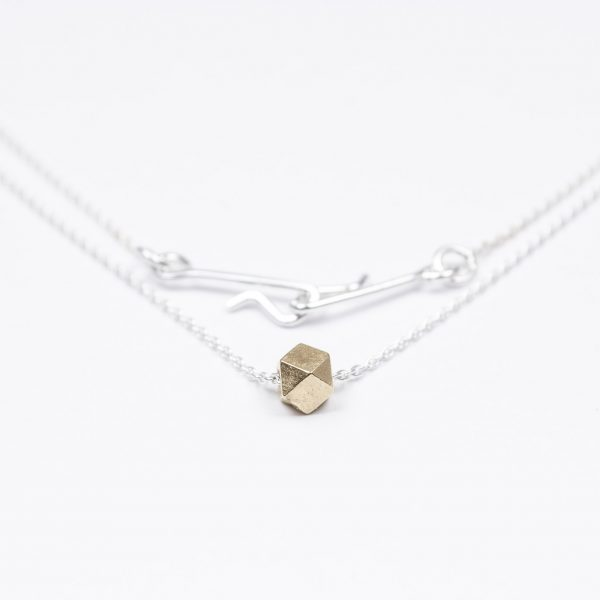 necklace etalon artefakti one 18 karat golden element size m. minimalistic look side view