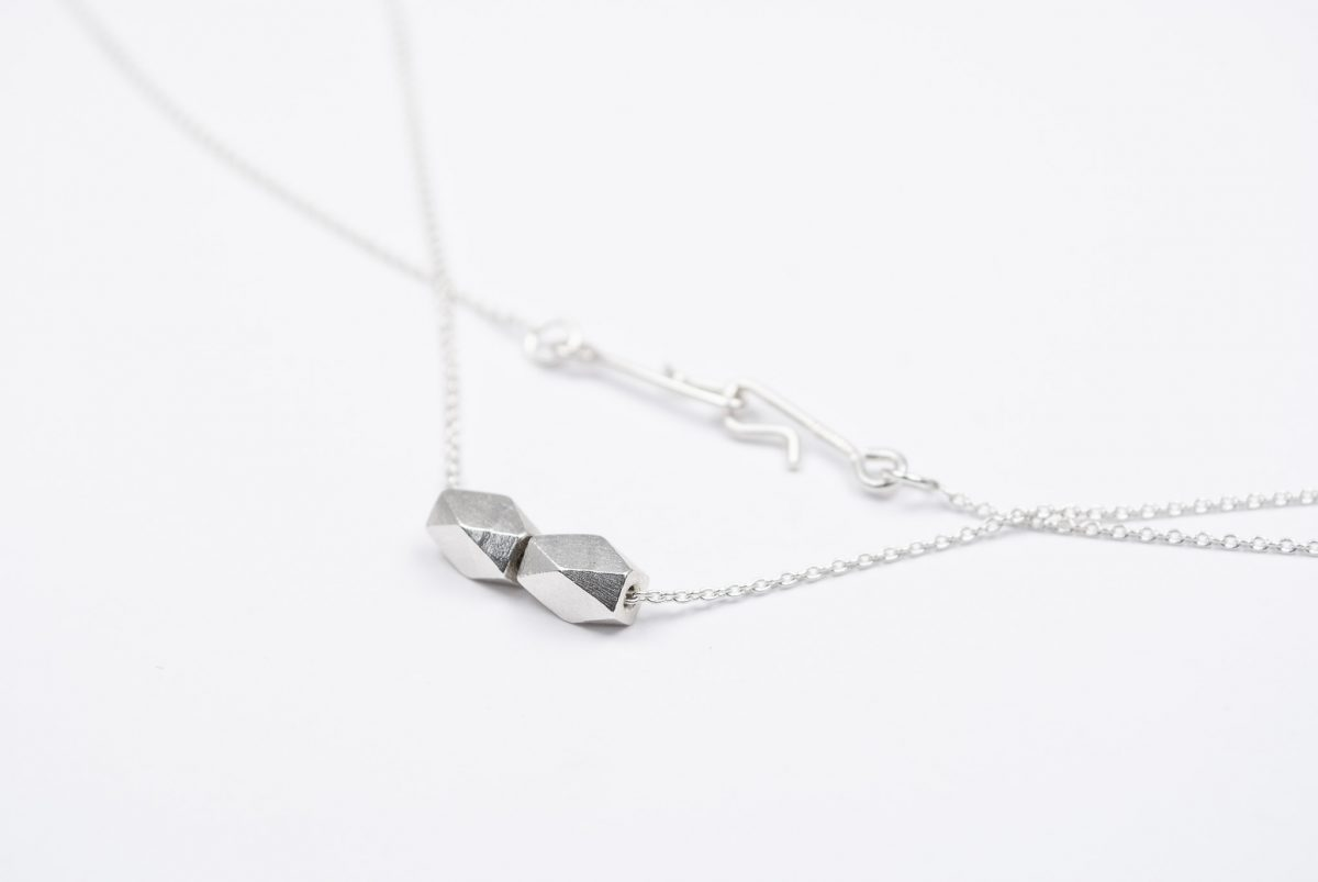 necklace artefakti two silver elements size L front view