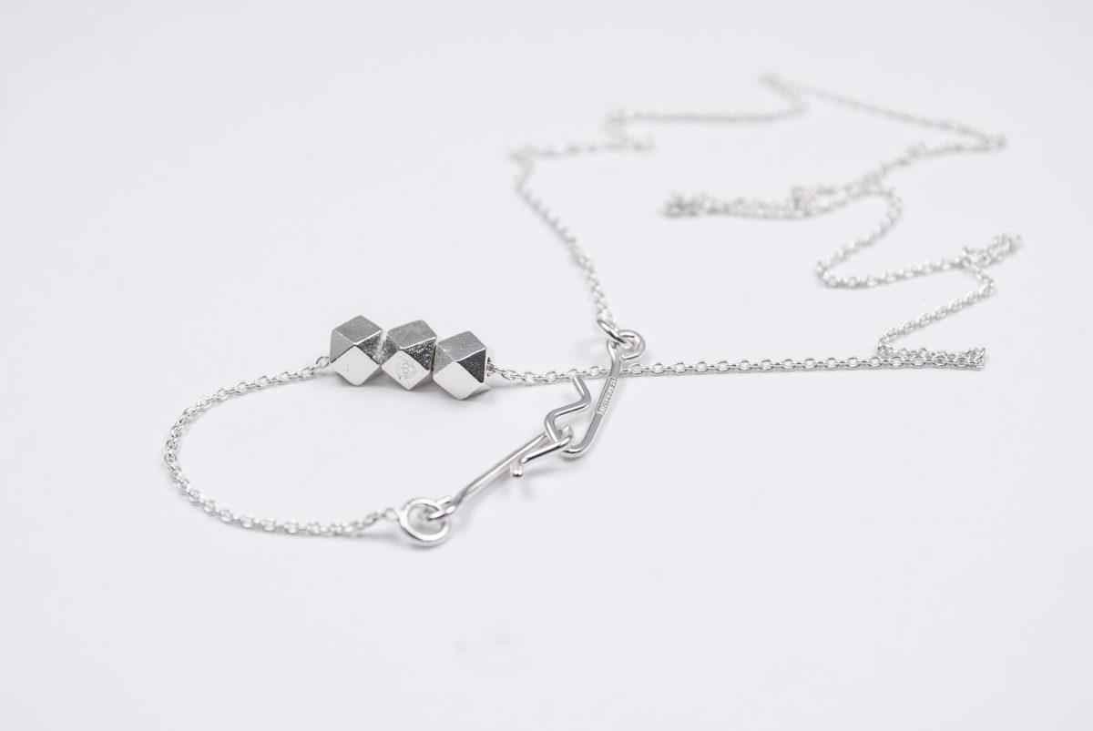 necklace artefakti thre silver elements front view