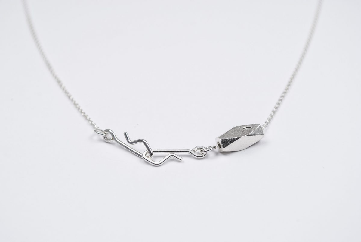 necklace artefakti one silver element size L minimalistic view front view