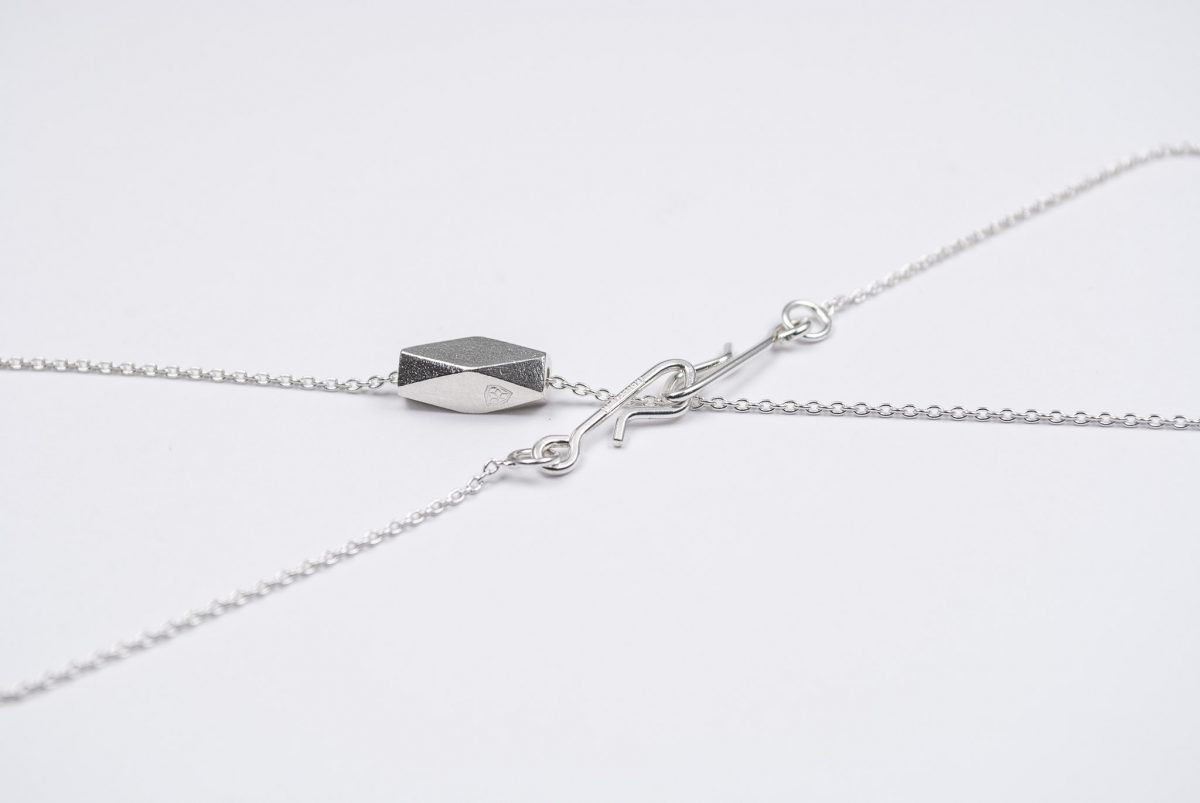 necklace artefakti one silver element size L minimalistic view side view