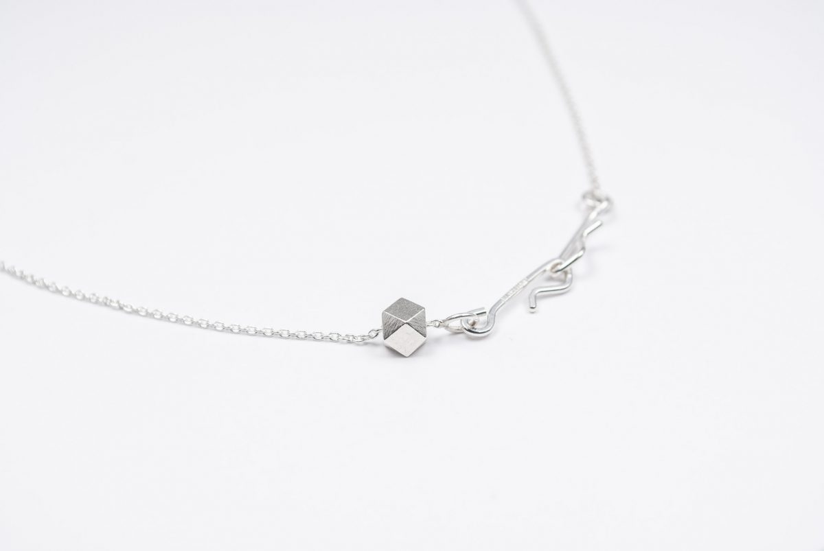 necklace artefakti one silver element size m minimalistic view side view